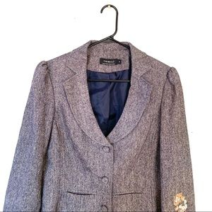 Tribal Jackets & Coats - TRIBAL Wool Blend Embroidered Blazer Gray 6